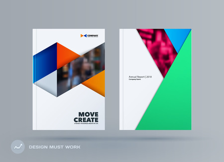 Brochure design triangles template. Colourful modern abstract set, annual report with triangles for branding. Archivio Fotografico - 101990699