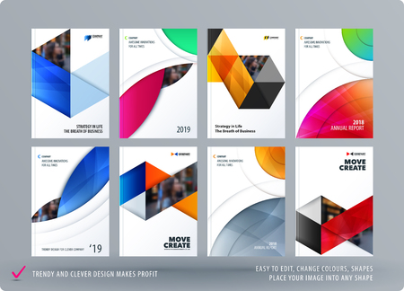 Brochure design round template. Colourful modern abstract set, annual report with circle for branding. Vettoriali