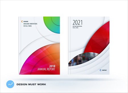 Brochure design round template. Colourful modern abstract set, annual report with circle for branding. 일러스트