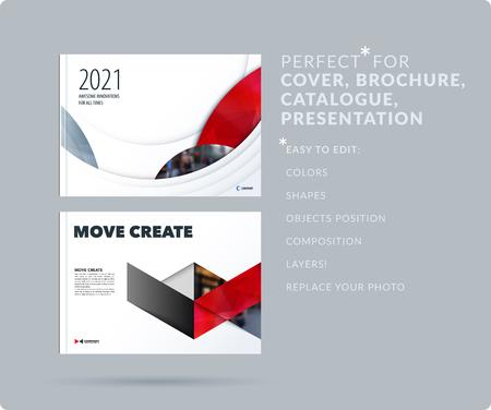 Glad ontwerp presentatiesjabloon met kleurrijke ronde vormen. Abstract vector set van moderne horizontale banners Vector Illustratie