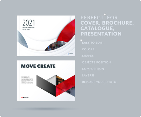 Smooth design presentation template with colourful round shapes. Abstract vector set of modern horizontal banners Çizim