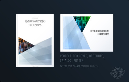 Brochure design rectangular template. Colourful modern abstract set, annual report with material design for branding.