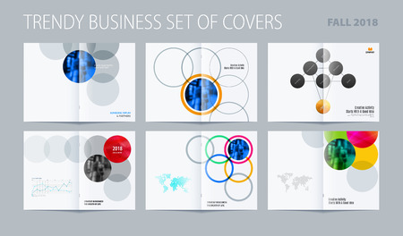 Abstract brochure in round smooth design style, modern catalog, double-page flyer in A4 with colourful circles for branding partnership collaboration . Business vector spread cover.