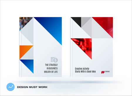 Brochure design triangular template. Colourful modern abstract set, annual report with shapes for branding.