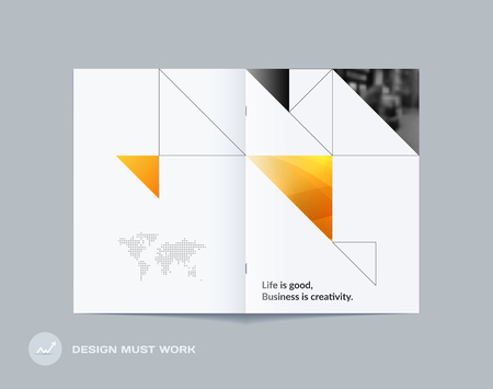 Abstract double-page brochure design triangular style with colourful triangles for branding. Business vector presentation broadside.