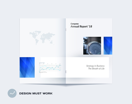 Abstract double-page brochure design rectangular style with colourful rectangles for branding. Business vector presentation broadside. Stock Photo