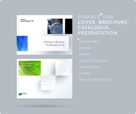 Square design presentation template with colourful rectangles shadows. Abstract vector set of modern horizontal banners