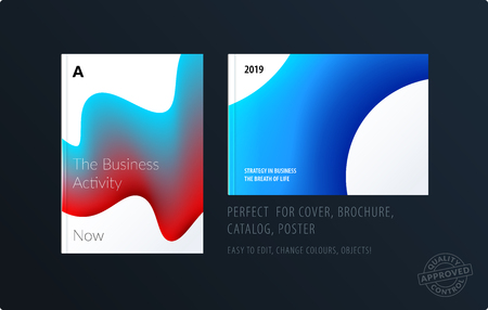 Brochure design liquid template. Colourful blue modern abstract set, annual report with fluid shapes for branding.