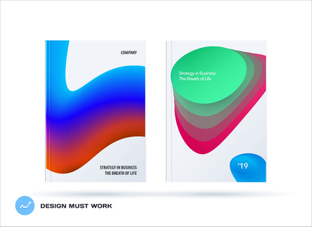 Brochure design liquid template. Colourful modern abstract set, annual report with fluid shapes for branding.