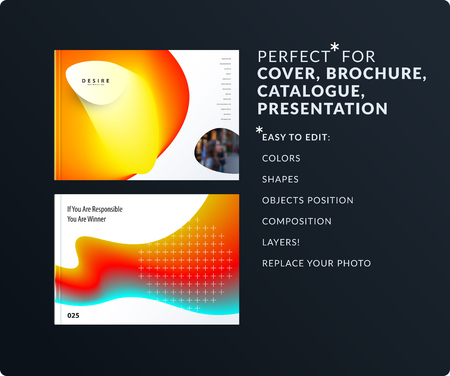 Liquid design presentation template with colourful fluid gradient shapes. Abstract vector set of modern horizontal banners