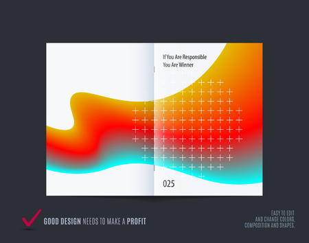 Abstract double-page brochure design fluid style with colourful liquid for branding. Business vector presentation broadside.