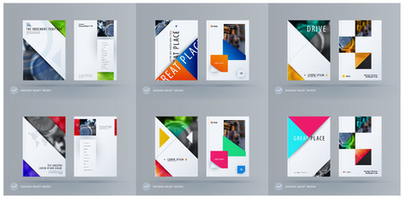 Brochure design square triangular template. Creative abstract set, annual report, horizontal cover, flyer in A4 with colourful shapes for branding, exhibition. Business vector presentation.