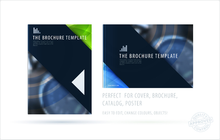 Brochure design square triangular template. Creative abstract set, annual report, horizontal cover, flyer in A4 with blue colourful shapes for branding, exhibition. Business vector presentation.