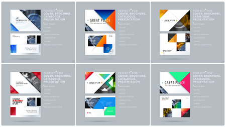 Modèle de présentation de conception triangulaire avec des triangles colorés et des diagonales. Ensemble vectoriel abstrait de bannières horizontales modernes