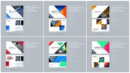 Plantilla de presentación de diseño triangular con triángulos de colores y diagonales. Conjunto de vector abstracto de banners horizontales modernos