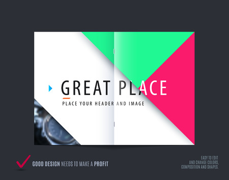 Abstract brochure in modern design style, modern catalog, double-page flyer in A4 with colourful triangles for branding. Business vector spread cover.