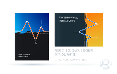Brochure design soft template. Colourful modern abstract set, annual report with shapes for branding. Illustration