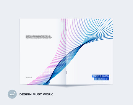 Abstract brochure in modern design style, modern catalog, double-page flyer in A4 with colourful lines waves for branding. Business vector spread cover. Illustration