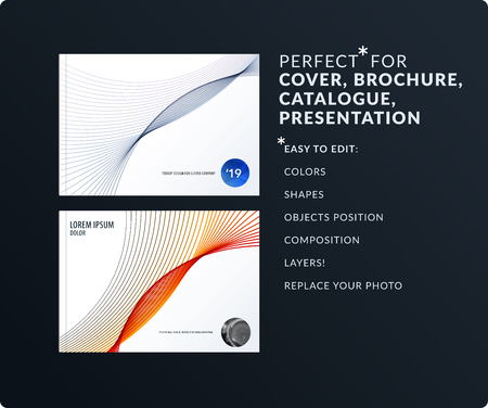 Soft design presentation template with colourful waves and lines. Abstract vector set of modern horizontal banners Illustration