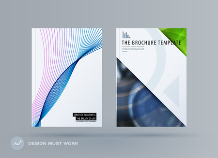 Brochure design smooth soft template. Creative abstract set, annual report, horizontal cover, flyer in A4 with colourful lines waves for branding, exhibition. Business vector presentation. Vettoriali
