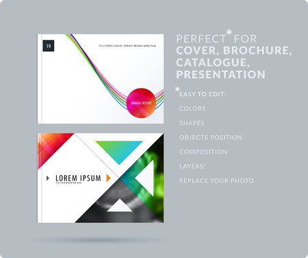 Soft design presentation template with colourful waves and lines. Abstract set of modern horizontal banners