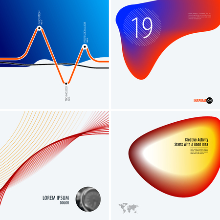 Set of abstract vector design for graphic template. Creative modern business background. Colourful soft waves for banner, brand printing, web sale, marketing, discount, offer. Illustration