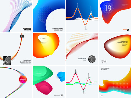 Set of abstract vector design for graphic template. Creative modern business background. Colourful soft waves for banner, brand printing, web sale, marketing, discount, offer. Stock Photo