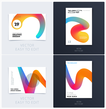Design of brochure smooth soft template. Creative abstract set, annual report, horizontal cover, flyer in A4 with colourful lines waves for branding, exhibition. Business vector presentation.