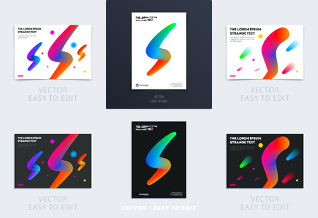 Abstract design brochure in modern style, creative catalog, flyer in A4 with colourful geometric shapes for branding, presentation, marketing kit. Business vector cover set Stock Illustratie