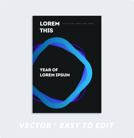 Brochure with dark neon style, creative design of catalog cover, flyer in A4 with colourful geometric lines for night club, promotion, advertisement, event, fun. Black background.