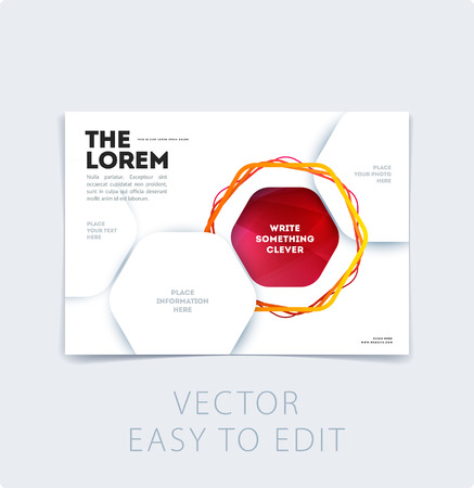 Abstract design brochure in modern style, creative catalog, flyer in A4 with colourful geometric lines for branding, presentation, marketing kit. Business vector cover