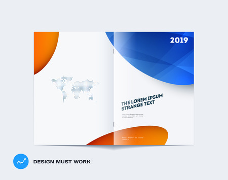 Abstract design bifold brochure in modern style, double-page modern catalog, flyer cover in A4 with colourful soft shapes for branding. Business vector spread cover. Vettoriali