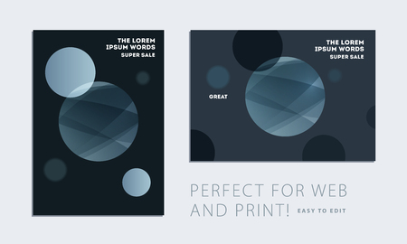 Set of brochure with dark neon style, creative design of catalog cover, flyer in A4 with grey blue soft circles for night club, promotion, advertisement, event. Black background. Illustration
