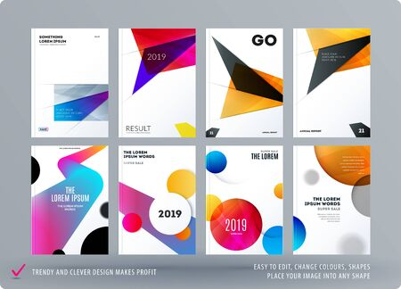 Abstract design brochure in modern style, creative catalog, flyer in A4 with colourful shapes for branding, presentation, marketing kit. Business vector cover Stock fotó