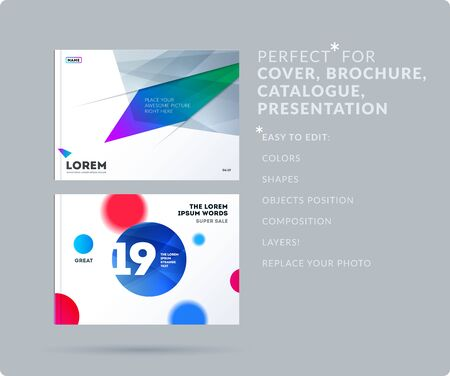 Set of Design of brochure smooth soft template. Creative abstract set, annual report, horizontal cover, flyer in A4 with colourful round shapes for branding, exhibition. Business vector presentation