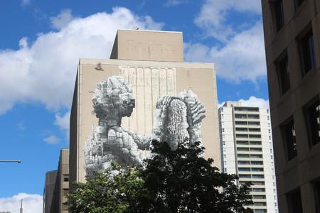 Multi story human mural