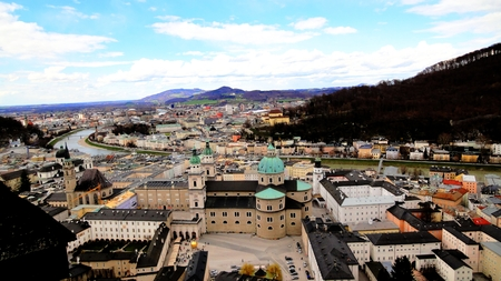 bird s eye: Bird s eye view of Salzburg Stock Photo