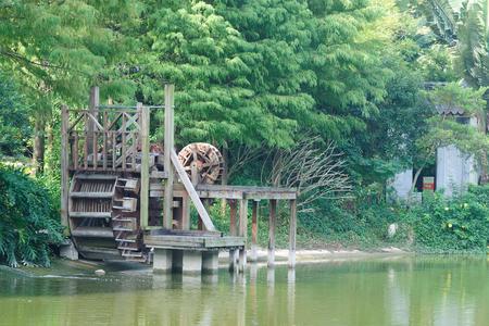 waterwheel: Closeup of waterwheel by the river Stock Photo