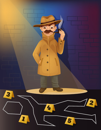 Detective character research crime scene. Vector flat cartoon illustration