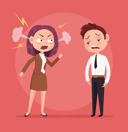 Woman boss character yells at worker. Vector flat cartoon illustration