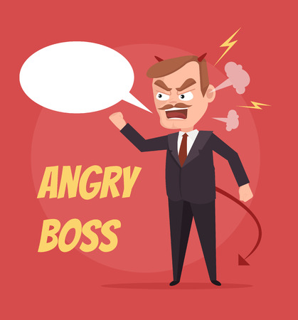 Angry boss character scream. Speech bubble. Vector flat cartoon illustration