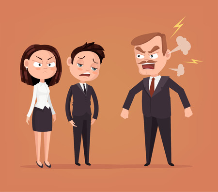 dismiss: Angry boss character yelling at employee. Vector flat cartoon illustration