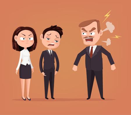 Angry boss character yelling at employee. Vector flat cartoon illustration