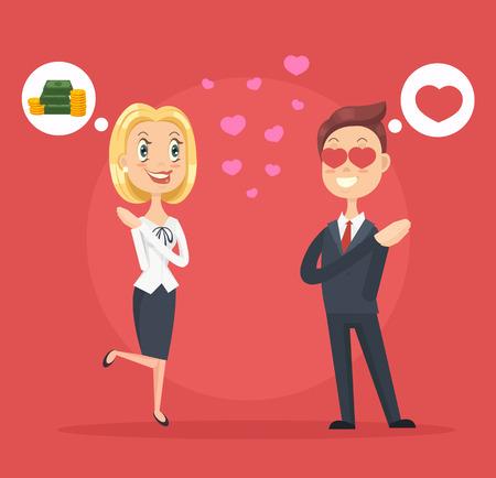 Woman character love man for money. Vector flat cartoon illustration