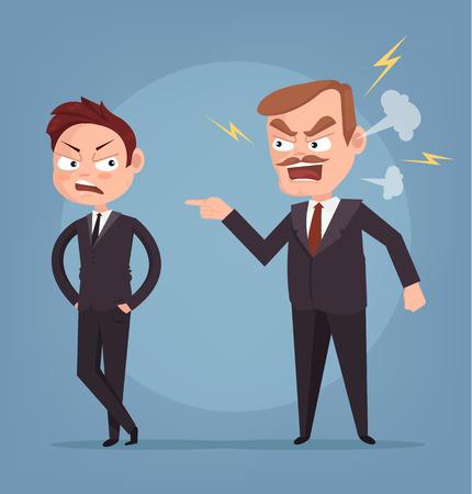 Angry boss character yelling at worker. Vector flat cartoon illustration
