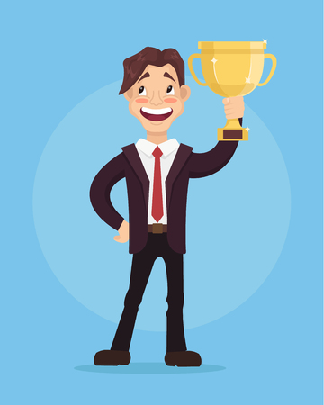 Celebrating happy smiling businessman winner office worker character hold golden cup. Vector flat cartoon illustration