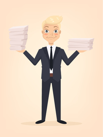 Many works done. Happy smiling office worker character. Vector flat cartoon illustration