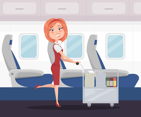 Smiling happy stewardess woman character carries food and drinks. Vector flat cartoon illustration Stock Illustratie
