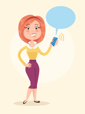 Happy smiling woman character hold smartphone in hand receiving message. Vector flat cartoon illustration