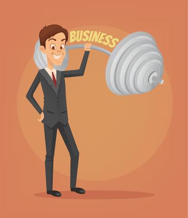 Successful businessman office worker character. Vector flat cartoon illustration